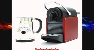 Nespresso D60 Pixie Dark Red Espresso Machine With Aeroccino Plus Milk Frother
